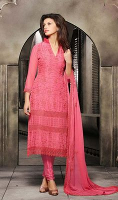 Create a zing factor dressed up in this salmon embroidered chiffon churidar suit. The chikan, resham and stones work seems chic and fantastic for any occasion.  #NewStyleCasualDreess