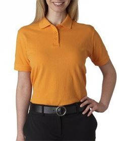 Ladies' Classic Pique Polo Shirt, Color: Tangerine, Size: X-Small UltraClub. $15.99