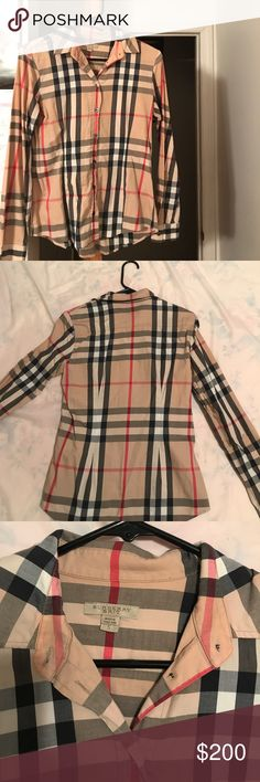 Burberry Brit Printed Stripped Shirt In great condition! All buttons are still attached! Classic signature Burberry shirt! A MUST HAVE Burberry Tops Button Down Shirts