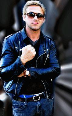 Leather jacket. Bracelet. Ryan Gosling