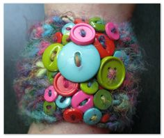 Fuzzy Mystic Button Cuff Bracelet by LittleMoonCrafts on Etsy, $15.00