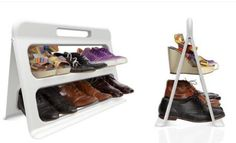 Portable, foldable shoe rack. Perfect to leave outside for dirty and wet shoes. You can pick the whole thing up and bring it inside of its pouring out. Folds flat for storage.