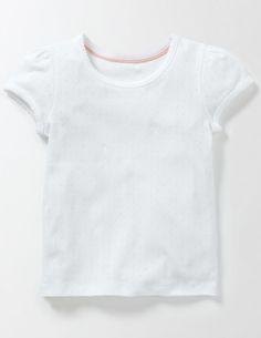 Short Sleeve Pointelle T-shirt Boden Girls White Shorts, White Girls, Boden Uk, Types Of Girls, Mini Shorts, School Outfits, Flower Girl Dresses, Sleeves, Mens Tops