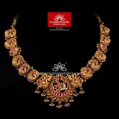 Traditional gold necklaces for women from the house of Kameswari. Shop for antique gold necklace, exquisite diamond necklace and more! Gold Bangles Design, Gold Jewellery Design, Gold Jewelry, Gold Necklace, India Jewelry, Temple Jewellery, Designer Jewelry, Antique Jewellery Designs, Antique Jewelry