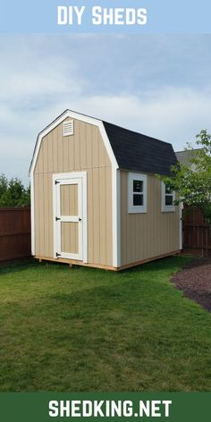 It's fun and easy to build your neat shed with these easy to use diy shed plans. Barn style sheds, gable, saltbox, and lean to backyard shed plans that come complete with building guide, materials list, and email support to make your shed building project an easy and fun one.  Check out all my shed building plans that you can download now and start building tomorrow. Backyard Storage Sheds, Building A Storage Shed, Shed Building Plans, Diy Shed Plans, Barn Plans, Backyard Barn, Backyard Ideas, 3d Building Models, Barn Style Shed