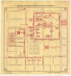 """""""Apuntes sobre la antigua México Tenochtitlan del Dr. Ignacio Alcocer (1870-1936) ...A ver si lo encuentro para leerlo y ver de donde saco tantos detalles interesantísimos que incluye en este mapa, como los estanques al sur de la casa de los enanos."""