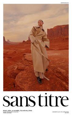 Xiao Wen Ju by Jumbo Tsui for Sans Titre Fall-Winter 2019 Ad Campaign - Minimal. Fashion Poses, Fashion Shoot, Editorial Fashion, Editorial Photography, Portrait Photography, Fashion Photography, Monument Valley, Logos Retro, Desert Fashion