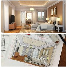 Photo Drawing Interior, Interior Rendering, Interior Sketch, Interior And Exterior, Interior Design, Music Drawings, Marker Drawings, Perspective Sketch, Hand Sketch