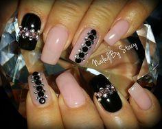 Fabulous Pink and Black Nails by NailedByStacy - Nail Art Gallery nailartgallery.nailsmag.com by Nails Magazine www.nailsmag.com #nailart