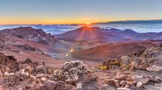Haleakala Sunrise on Volcanic Rock.