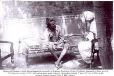 Shaheed Bhagat Singh photographed secretly at Lahore Railway Police Station, during his first arrest 29 May to 4 July 1927 - in connection with Lahore Dussehra Bomb Case (25 Oct 1926) with Gopal Singh Pannu DSP, CID Lahore.