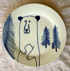 Hand Painted Side Plate  Blue Bear by jimbobart on Etsy, $58.00