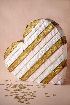 DIY gold and blush heart piñata
