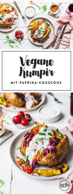Kartoffeln sind langweilig? No way! Probier' doch mal unsere vegane Kumpir mit Paprika-Couscous, schnell eingelegtem Rotkraut und frischem Rucola