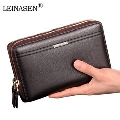 LEINASEN Luxury Brand Business Men Wallets Long PU Men's Leather Cell Phone Clutch Purse Handy Bag Black Top Zipper Large Wallet #Affiliate