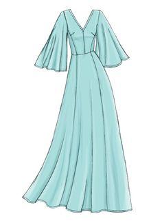 Vogue Patterns Sewing Pattern Misses' Dress Dress Design Drawing, Dress Design Sketches, Fashion Design Sketchbook, Dress Drawing, Fashion Design Drawings, Fashion Sketches, Drawing Sketches, Drawing Tips, Fashion Drawing Dresses