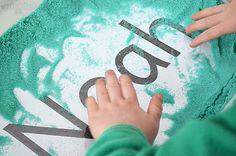 Hidden name with salt sensory.Learning Your Name - three playful ways to help kids learn to recognise their own name using a simple name card. Name Activities, Help Kids, Your Name, Name Cards, Kids Learning, School Stuff, Literacy, Salt, Names