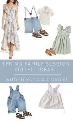 Whether you have a family session booked with me or someone else this spring, here are some family outfit ideas I put together to give you some inspriation when choosing what to wear. All links can… Family Photography Outfits, Family Portrait Outfits, Family Picture Outfits, Clothing Photography, Family Photo Sessions, Family Portraits, Spring Family Pictures, Spring Photos, Family Photos