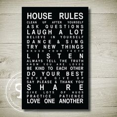 HOUSE RULES  Printable Wall Art 65 x 10 by theparchmentplace, $5.00 #wonderful