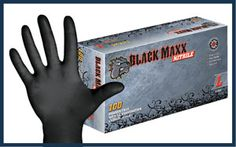 Black Nitrile Powder Free Exam Gloves with a Textured Surface. The Black Maxx Nitrile glove is black in color; provides a framing effect fo. Medical Equipment, Gloves, Powder, Ink Stains, Stuff To Buy, Body Piercing, Black, Safety