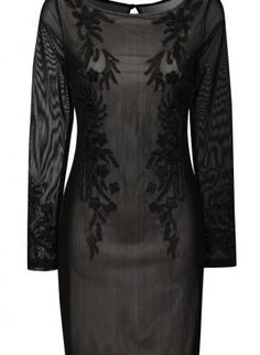 Black Embroidered Long Sleeve Dress with Sheer Overlay,  Dress, body con dress  long sleeve, Chic