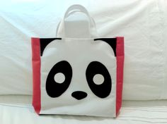 Happy shopping bag - Panda // Canvas and leather