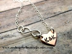 Valentines Day- Hand stamped-personalized jewelry-Copper-sterling silver-infinity necklace on Etsy, $29.00