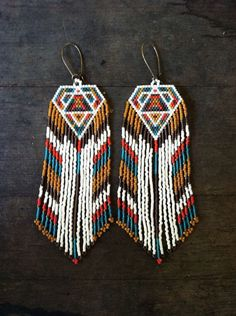 Fractal seed bead earrings sacred by DancingWillowDesign, … Seed Bead Jewelry, Seed Bead Earrings, Beaded Earrings, Seed Beads, Aztec Earrings, Fringe Earrings, Beaded Jewelry Patterns, Beading Patterns, Jewelry Crafts