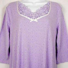Adonna Womens Nightgown Purple Sz L Cotton Blend 3 4 Slv Lace Trim Long  Length   · Nightgowns ... ac9dbd677