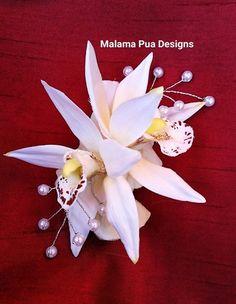 tropical hair clip petite silk orchids wedding headpiece custom hair flowers hair - Silk Orchids