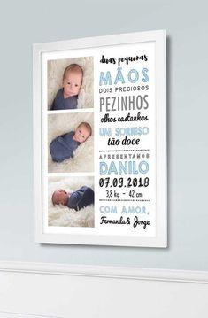 Quadro Nascimento do Bebê 2 - para personalizar  Decore o quarto com um quadro de boas-vindas. Com uma foto dos primeiros dias de seu filho, fazemos uma arte com as informações de quando ele chegou para vocês: peso, altura, data/hora, nome dos pais e o nome do bebê. Deixe também algum recadinho carinhoso.  O quadro chega pronto para ser pendurado na parede.  #nascimento #quartodobebe #rescemnascido #baby #newborn #pai #mãe #maternidade #nursery #infantil #criança #infância #revelação… Newborn Pictures, Baby Photos, Baby Frame, Baby Memes, Baby Footprints, Childrens Room Decor, Baby Birth, Baby Bedroom, Baby Shark
