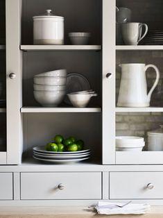 Plenty of storage and shelving, the striking grey shade is wonderfully contemporary. Perfect for holding pots, pans and seasonal dinnerware. #shelfieinspiration #pantryorganisation #kitchenideas
