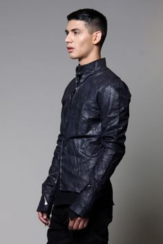 M.A+, Midnight Blue Biker Leather Jacket – The Archive