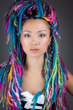 cool yarn hair - rainbow!