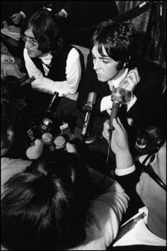 Elliott Landy, John Lennon, Paul McCartney, press conference announcing formation of Apple Records, NYC, 1968.