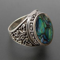 VINTAGE OVAL ABALONE INLAY STERLING SILVER ORNATE HIGH SETTING RING - SIZE 7.75 – Gold Stream Boutique