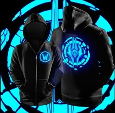 Luminous Draenei zip hoodie for teens XXXL World of Warcraft black sweatshirt