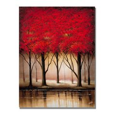 Trademark Art Serenade in Red Painting Print on Canvas Size: Tree Canvas, Canvas Wall Art, Canvas Prints, Canvas Canvas, Canvas Size, Fine Arts Subjects, Red Tree, Artist Canvas, Painting Prints
