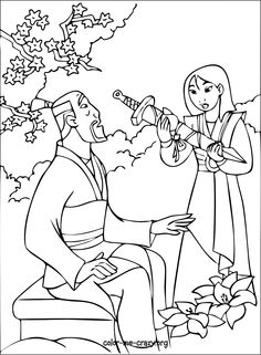 Mulan Li Shang and Fa Zhou coloring page Wedding Pinterest