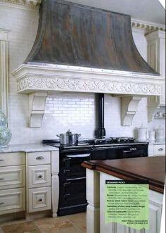kitchen with antiqued cabinets, zinc hood, wood counters Kitchen Hood Design, Kitchen Vent Hood, Kitchen Stove, Kitchen Decor, Custom Kitchens, Home Kitchens, Dream Kitchens, French Country Kitchens, Beautiful Kitchens