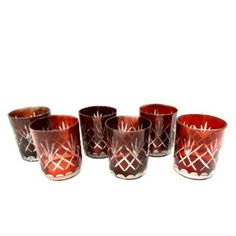 Bohemian Ruby cut to Clear Tumblers, Red Cris-Cross Glasses or Cased Colored…
