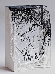 "Atsuko Chirikjian, Incomplete, 2014,10""x7""x4"",twig, wire, net, paper."