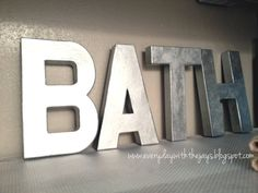 how to spray cardboard with metal spraypaint | Hobby Lobby cardboard letters painted with metallic spray paint. They ...