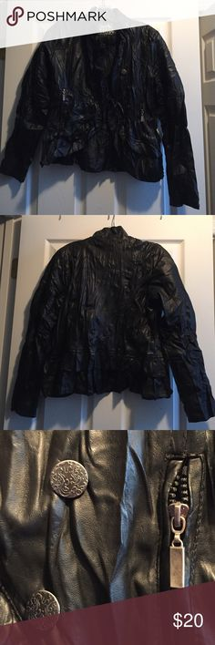 Faux leather jacket Wrinkle like faux leather. Has ruffled in the back and up the front. Buttons off the side. Dollhouse Jackets & Coats