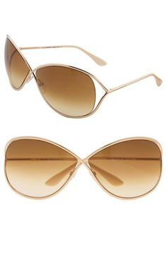 8b612629eb Tom Ford  Miranda  Open Temple Metal Sunglasses Shiny Rose Gold One Size