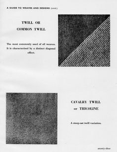 FABULOUS: A Guide to Weaves and Designs - The Warp and Woof - The Cutter and Tailor