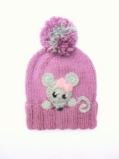 Kids Hat Knit Girls Hat with Mouse Winter Pom Pom Hat by Knitted Hats Kids, Baby Hats Knitting, Kids Hats, Loom Knitting, Knitting Patterns, Crochet Patterns, Cute Winter Hats, Pink Hat, Pom Pom Hat