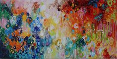 Colorful abstractred blue abstract painting modean by artbyoak1