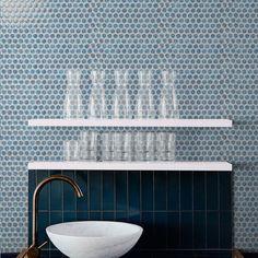 With crackle glazed smooth finish, 19mm round chips ceramic mosaic as bathroom wall tiles. #pennyroundtiles #tiles #mosaic #mosaicart #walltiles #ihavethingsforwalls #homeimprovement #homedecor #homedesigns #interiordesign #interiordecor #interiorinspirations #walldecor #bathroomdecor #bathroomdesign #designsponge #tileinspiration #tilepic #tileaddiction #mozaik #mozaic
