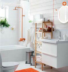Ikea 2015 catalog / white bathroom / pop of color / orange pop / orange home accessories